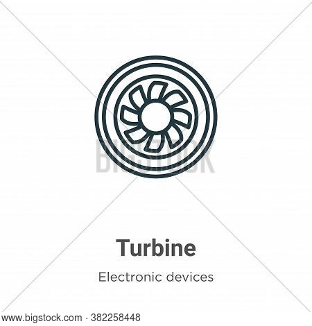 Turbine icon isolated on white background from electronic devices collection. Turbine icon trendy an