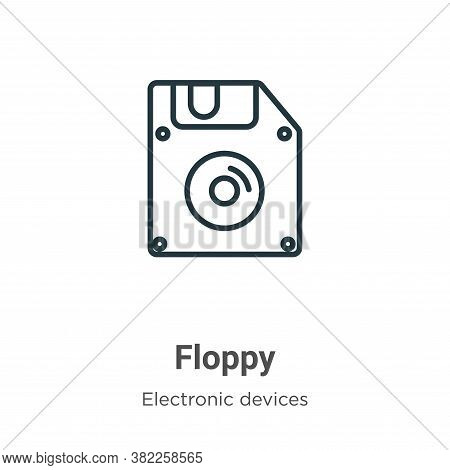 Floppy Icon From Electronic Devices Collection Isolated On White Background.