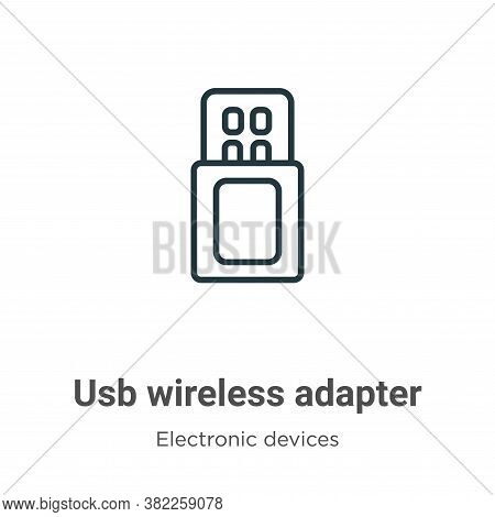 Usb wireless adapter icon isolated on white background from electronic devices collection. Usb wirel