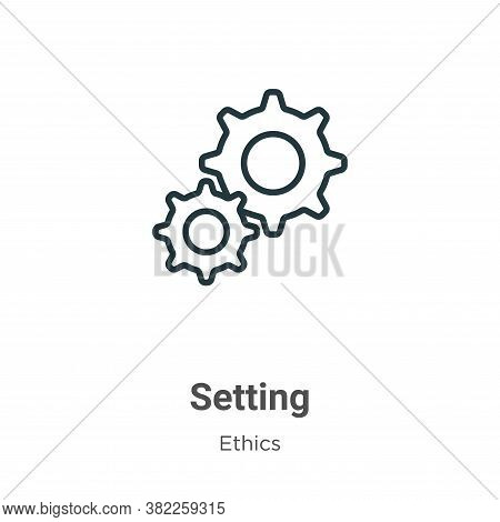 Setting icon isolated on white background from ethics collection. Setting icon trendy and modern Set