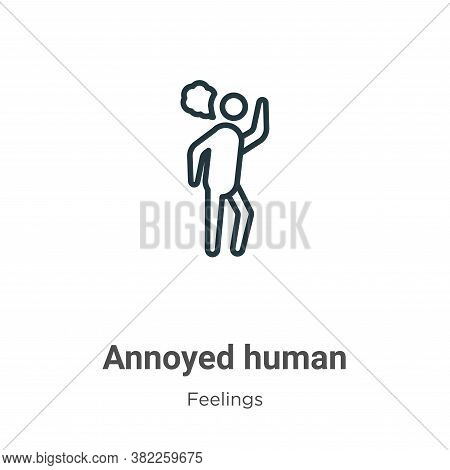 Annoyed human icon isolated on white background from feelings collection. Annoyed human icon trendy