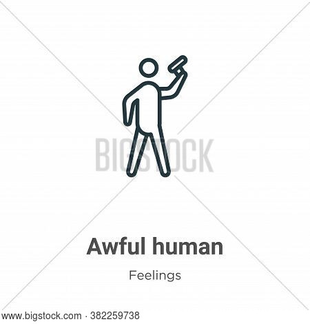 Awful human icon isolated on white background from feelings collection. Awful human icon trendy and