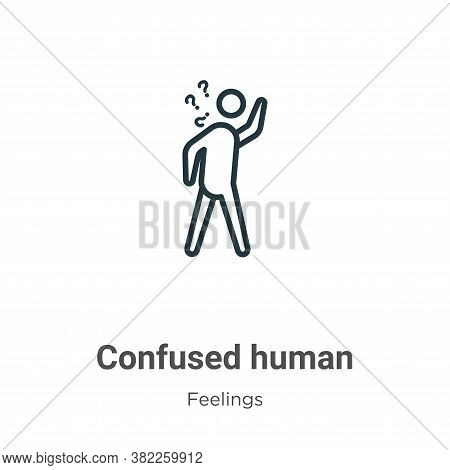 Confused human icon isolated on white background from feelings collection. Confused human icon trend