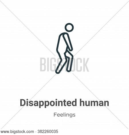 Disappointed human icon isolated on white background from feelings collection. Disappointed human ic