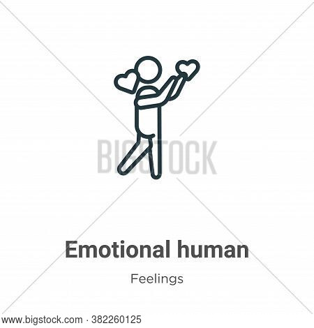 Emotional human icon isolated on white background from feelings collection. Emotional human icon tre