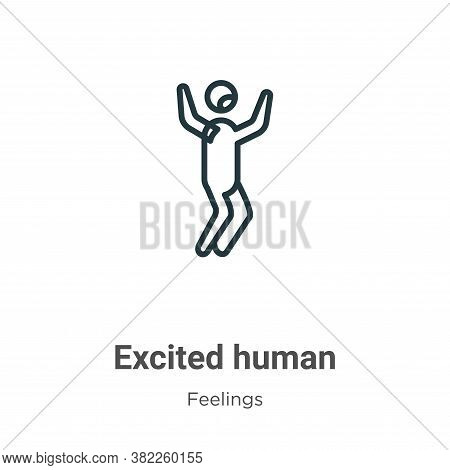 Excited human icon isolated on white background from feelings collection. Excited human icon trendy