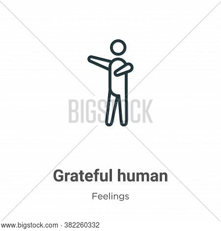 Grateful human icon isolated on white background from feelings collection. Grateful human icon trend