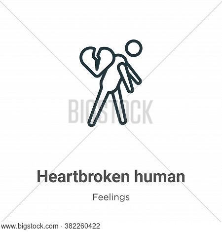 Heartbroken human icon isolated on white background from feelings collection. Heartbroken human icon