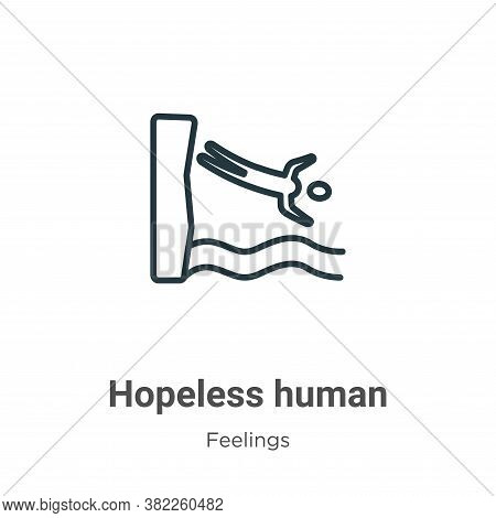 Hopeless human icon isolated on white background from feelings collection. Hopeless human icon trend