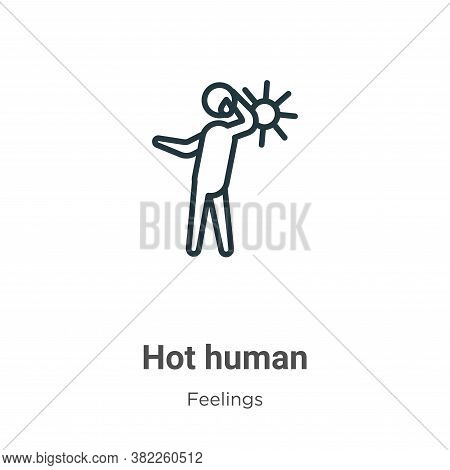 Hot human icon isolated on white background from feelings collection. Hot human icon trendy and mode