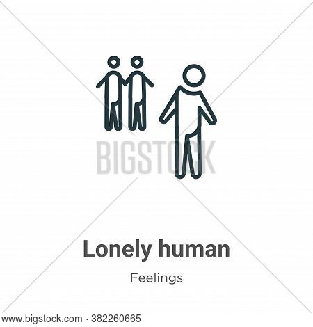 Lonely human icon isolated on white background from feelings collection. Lonely human icon trendy an