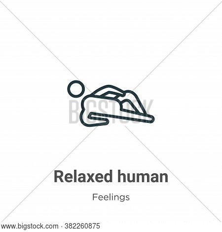 Relaxed human icon isolated on white background from feelings collection. Relaxed human icon trendy
