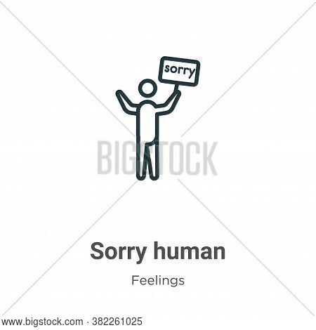 Sorry human icon isolated on white background from feelings collection. Sorry human icon trendy and