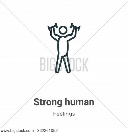 Strong human icon isolated on white background from feelings collection. Strong human icon trendy an