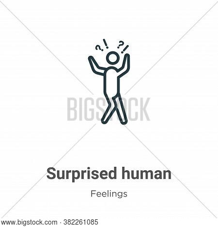 Surprised human icon isolated on white background from feelings collection. Surprised human icon tre