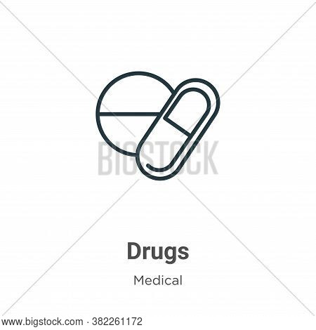 Drugs icon isolated on white background from medical collection. Drugs icon trendy and modern Drugs