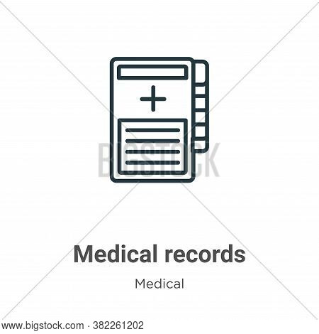 Medical records icon isolated on white background from medical collection. Medical records icon tren