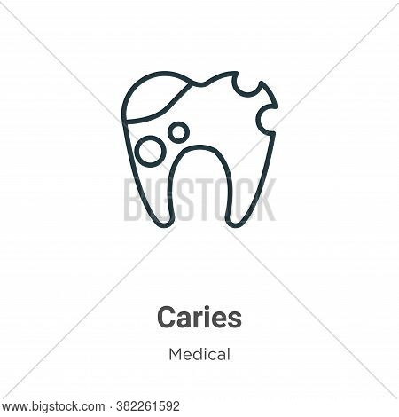 Caries icon isolated on white background from medical collection. Caries icon trendy and modern Cari