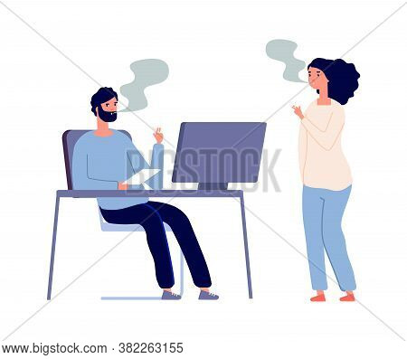 Smoking Office Workers. Woman Man Smokers, People With Cigarettes. Flat Style Managers Talking, Bad
