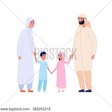 Muslim Arabic Family. Arab Kids, Islam Mother Father Children. Cartoon Boy And Girl In Hijab, Isolat