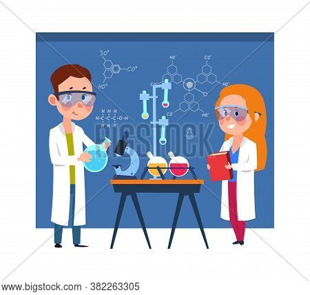 Young Chemists. Children Put Chemical Experiments, Girl Boy Wear White Coats And Using Medical Equip