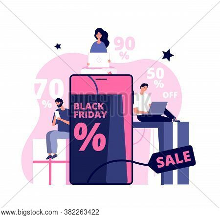 Black Friday Online. Shopping Man Girl, People Buying On Super Discount. Ecommerce, Shop In Tablet A