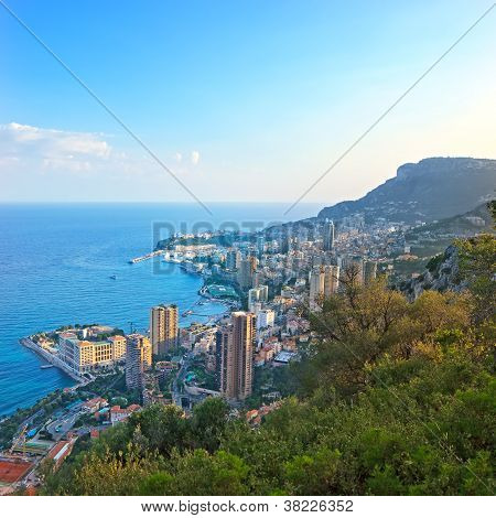 Monaco Montecarlo Principality Aerial View Cityscape Sunset. Azure Coast. France