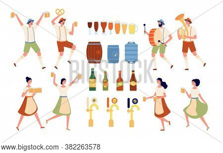 Brewery Elements. Beverages Bar, Beer Pub Equipment. Isolated Craft Alcohol Products And Bottling. O