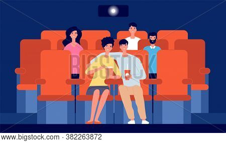 Couple In Movie Theater. Happy Boy Girl In Cinema, Cartoon People Watching Film. Young Viewers, Flat