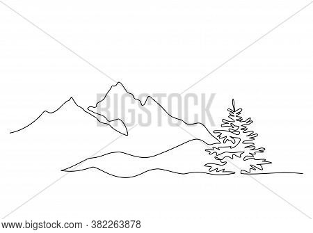 Mountain Landscape, Drawn In One Line. Continuous Line. Travels. Minimalistic Graphics. Mountains An