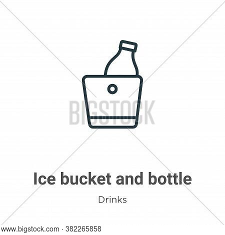 Ice Bucket And Bottle Icon From Drinks Collection Isolated On White Background.