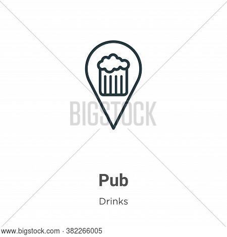 Pub icon isolated on white background from drinks collection. Pub icon trendy and modern Pub symbol