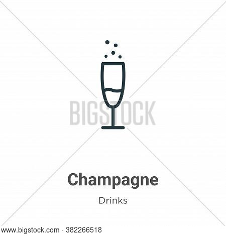 Champagne icon isolated on white background from drinks collection. Champagne icon trendy and modern