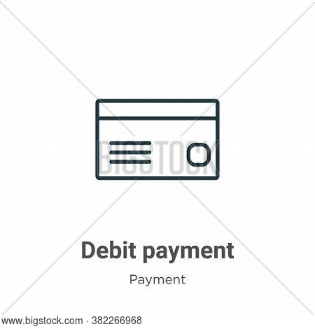 Debit payment icon isolated on white background from payment collection. Debit payment icon trendy a