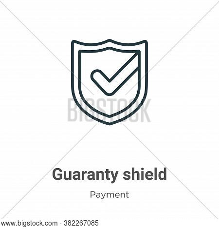 Guaranty shield icon isolated on white background from ecommerce collection. Guaranty shield icon tr