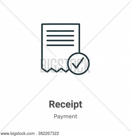 Receipt icon isolated on white background from payment collection. Receipt icon trendy and modern Re