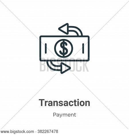 Transaction icon isolated on white background from ecommerce collection. Transaction icon trendy and