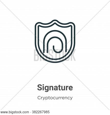 Signature icon isolated on white background from cryptocurrency collection. Signature icon trendy an