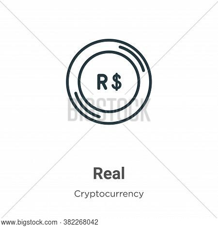 Real icon isolated on white background from cryptocurrency collection. Real icon trendy and modern R