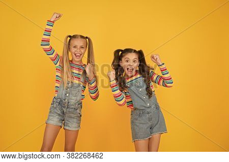 Got Great Style. Small Sisters Have Fun. Little Girls Yellow Background. Hairdresser Salon. Kid Summ