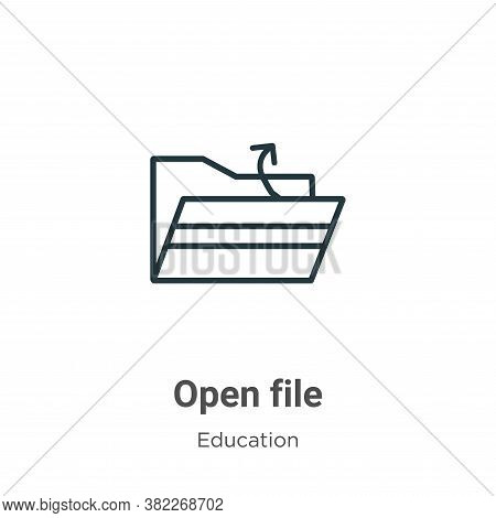 Open file icon isolated on white background from education collection. Open file icon trendy and mod