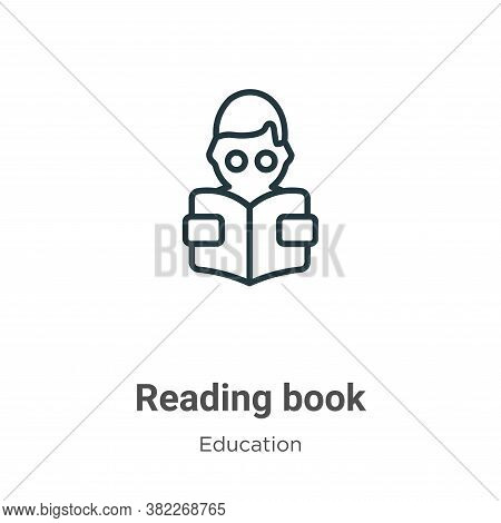 Reading book icon isolated on white background from education collection. Reading book icon trendy a