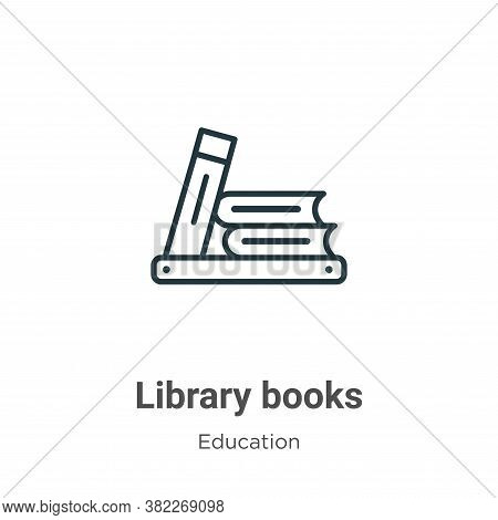 Library books icon isolated on white background from education collection. Library books icon trendy