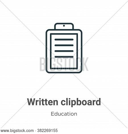 Written clipboard icon isolated on white background from education collection. Written clipboard ico