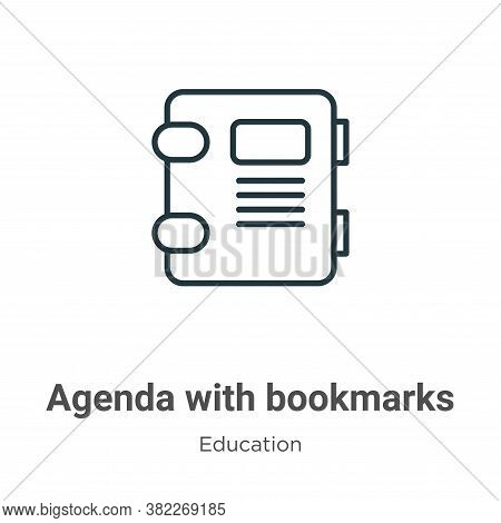 Agenda with bookmarks icon isolated on white background from education collection. Agenda with bookm