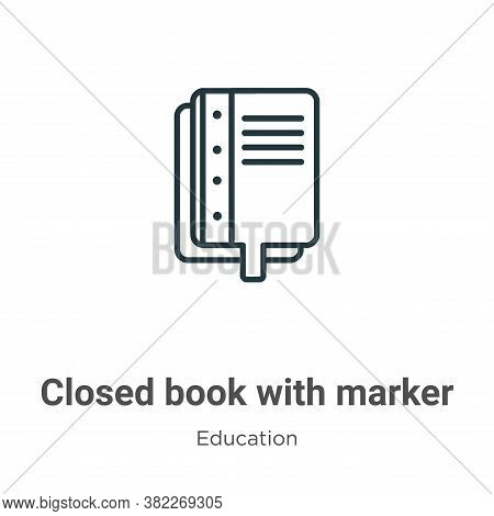 Closed book with marker icon isolated on white background from education collection. Closed book wit