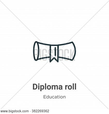 Diploma roll icon isolated on white background from education collection. Diploma roll icon trendy a