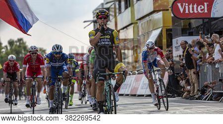 Chartres, France - July 13, 2018: The Dutch Cyclist Dylan Groenewegen Of Lottonl-jumbo Team Celebrat