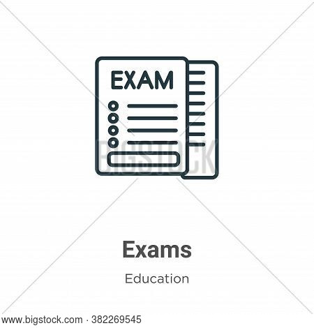 Exams icon isolated on white background from education collection. Exams icon trendy and modern Exam