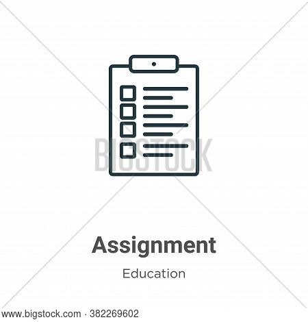 Assignment icon isolated on white background from education collection. Assignment icon trendy and m